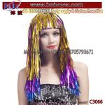 Synthetic Wig Cosplay Wig Wholesale Cheerleading Garland Multicolor Metallic Tinsel Wig Birthday Party Favor (C3066)